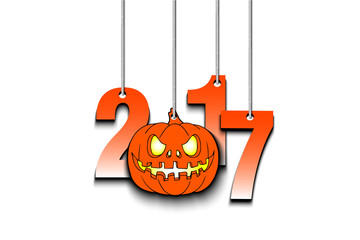 Halloween numbers 2017 and pumpkin hanging on a ropes