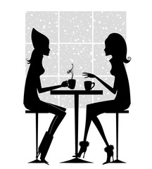 Fashion Silhouette of Two Girlfriends Having Coffee
