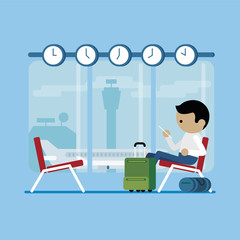 Man is waiting in airport