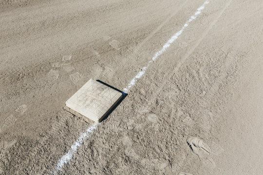 Baseball base and dirt field