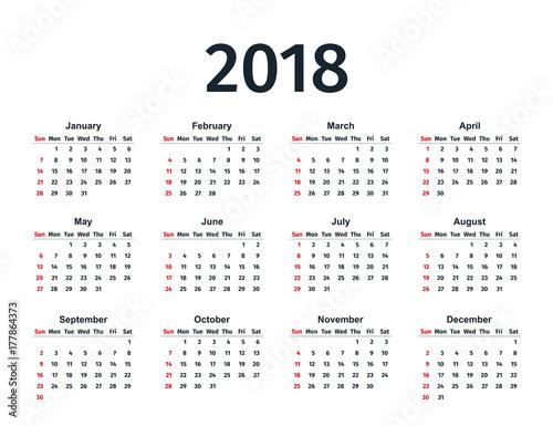 free 2018 yearly calendar