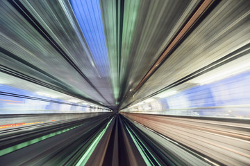 Speed and motion from fast train in tunnel