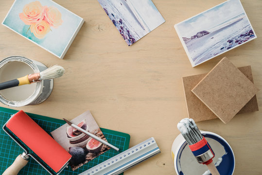 Utensils for mounting fine art prints onto blocks of mdf wood