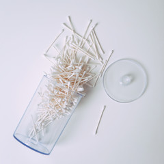White: Container Of Doctor's Cotton Swabs