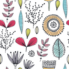 Floral seamless pattern. Hand drawn creative flowers. Lines and strips. Abstract herbs. Outline. Creative design. Can be used for wallpaper, textiles, wrapping, card, cover. Vector illustration, eps10