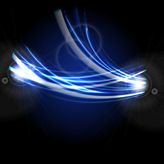 Bright blue glowing neon electric waves background