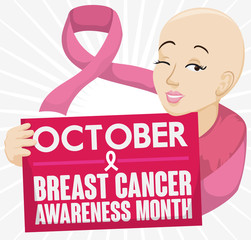 Bald Woman and Pink Ribbon Promoting Breast Cancer Awareness Month, Vector Illustration