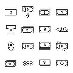 Modern outline style dollar icons collection.