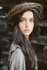A portrait of a beautiful brunette with long hair