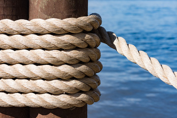 Ship Rope Tied To A Dock