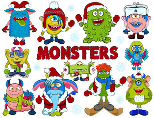 Vector set of cartoon cute monsters dressed in winter outfits.