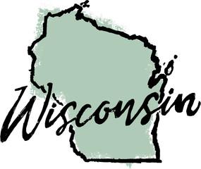 Hand Drawn Wisconsin State Design