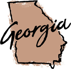 Hand Drawn Georgia State Design
