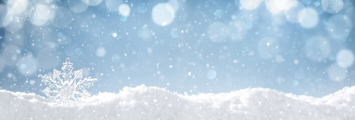 Snowflake on snow Wall mural