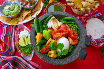 Molcajete for chile ranchera chili sauce