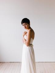 Pretty girl in a wedding dress.