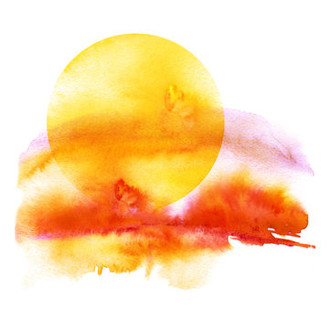 Watercolor pattern, illustration on white isolated background. Sunset, dawn, yellow sun on a yellow, orange, red sky with clouds.Vintage illustration. Watercolor beautiful background.