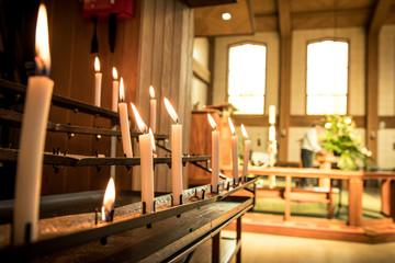 Church Candles Burning