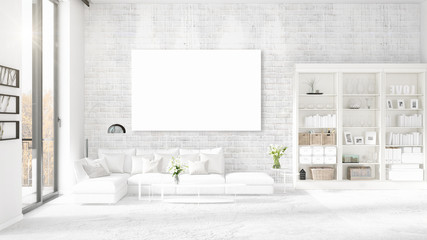 Panoramic view in interior with white leather couch, empty frame and copyspace in horizontal arrangement. 3D rendering.