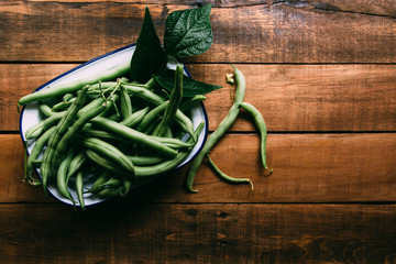Homegrown Green Beans in an Enameled White Plate