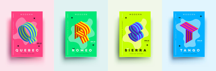 Modern Typographic Colorful Covers. Isometric Letters Q, R, S,T With Abstract Memphis Design Background. Vector Trendy Template For Your Posters, Banners, Presentations, Layouts Wall mural