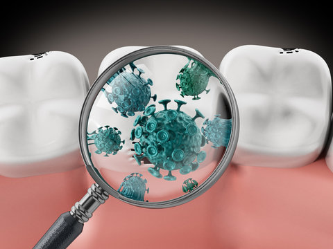 Magnifying glass on green bacteria. 3D illustration