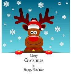 Christmas card with reindeer in Santa's cap with merry Christmas