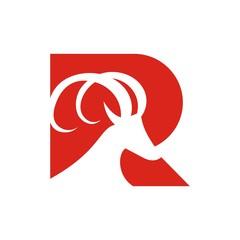 Goat or ibex logo design template vector inside R letter