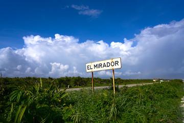 Wall Mural - Cozumel island El Mirador road sign Mexico