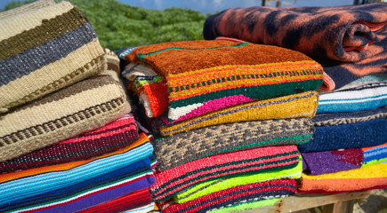 Mexican serape blanket in a row at Mexico