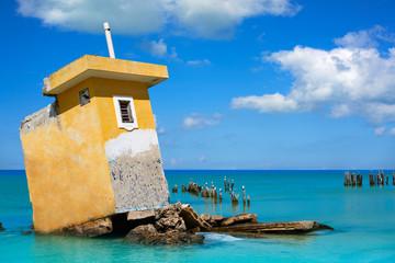 Holbox island beach Mexico hurricane ruins