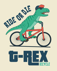 Dinosaur on bicycle. Illustration for t-shirt and other uses