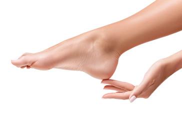 Poster Pedicure Perfect female feet. Hand touches elegant leg.