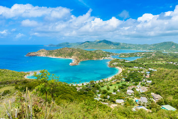 View of English Harbor from Shirley Heights, Antigua, paradise bay at tropical island in the Caribbean Sea