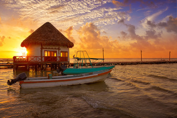 Holbox Island pier hut sunset beach in Mexico