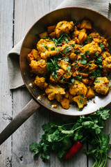 An Indian dish of cauliflower and potato.