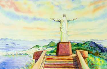 Painting  Christ the Redeemer statue.