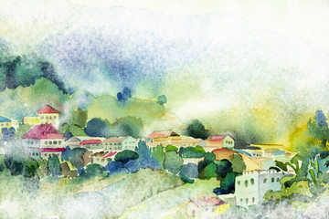 watercolor painting village view on hill mountain