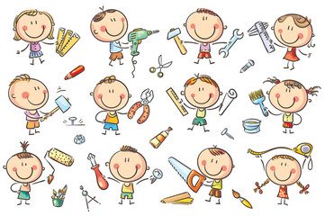 Wall Mural - Kids with Tools