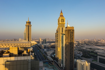 Fototapeta DUBAI, UNITED ARAB EMIRATES - JANUARY 6, 2017: Sheikh Zayed road seen from downtown Dubai skyscraper