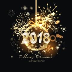 Hintergrund zum Jahreswechsel mit Feuerwerk und Christbaumkugel