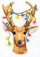 Christmas deer with a garland