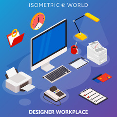 Modern flat 3d isometric concept of workplace with computer and office equipment. Vector infographics collection.