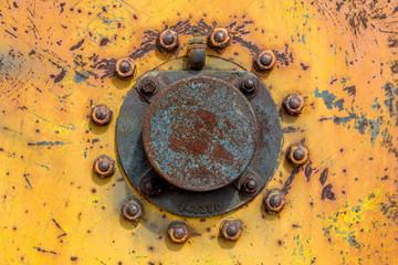 rusty tractor wheel hub
