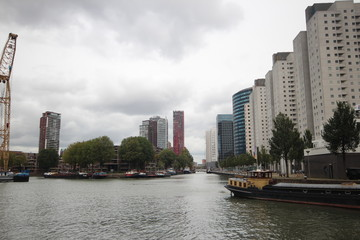 Overview of one of the Rotterdam Harbours in the center of the city