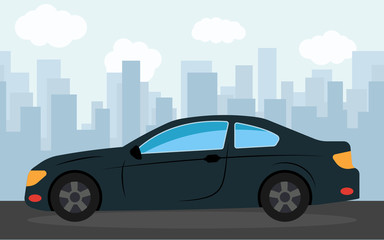 Black sports car in the background of skyscrapers in the afternoon.  Vector illustration.