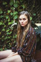 Girl in a shirt dress outdoors