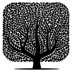 Vector silhouette of a tree isolated on a white background