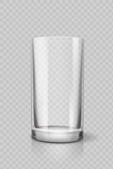 Empty drinking glass cup for water . Transparent vector