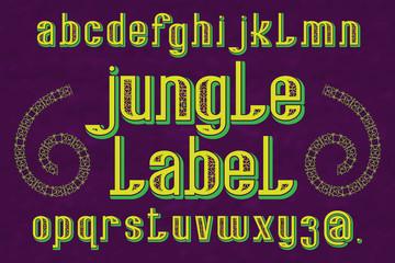 Jungle Label typeface. Decorative font. Isolated english alphabet.